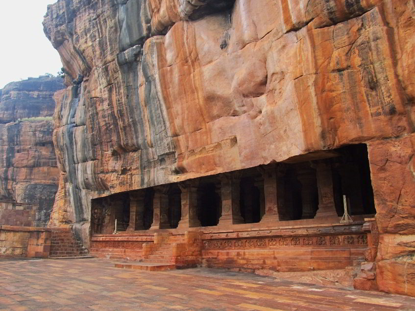 Rock Cut Cave Temples Of Badami in Karnataka, India