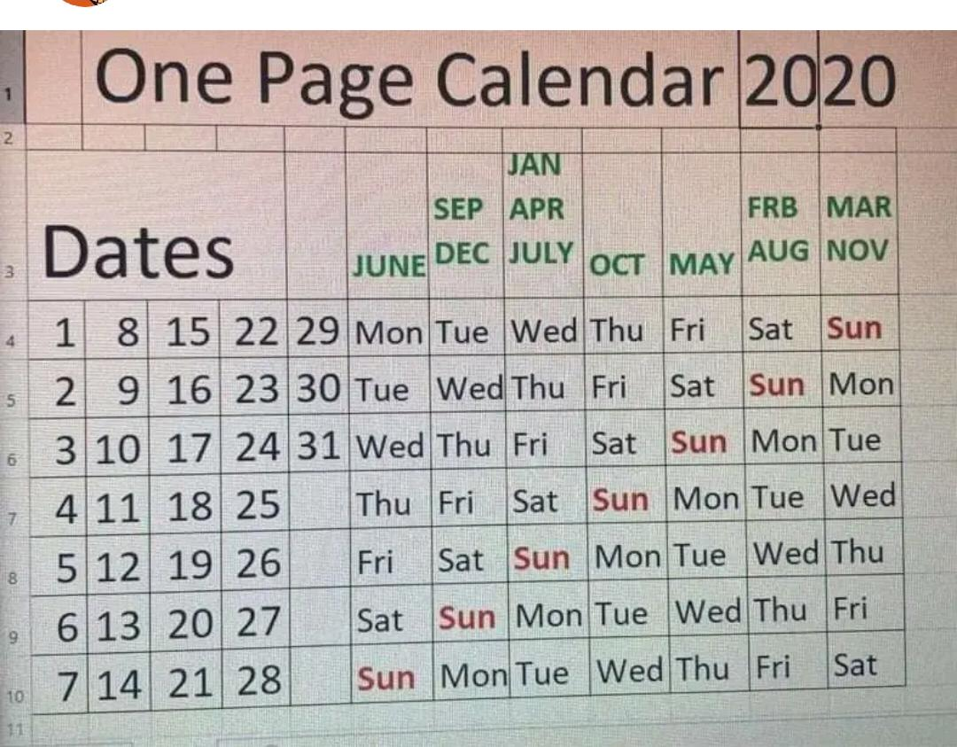 2020 - One Page Calendar