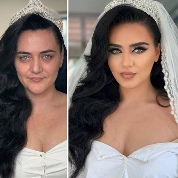 Brides Before And After Their Wedding Makeup (25 pics)